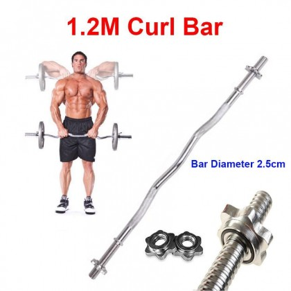 1.2M Ez Curl Bar Weight Lifting Barbell Bar For 3cm Hole Plate