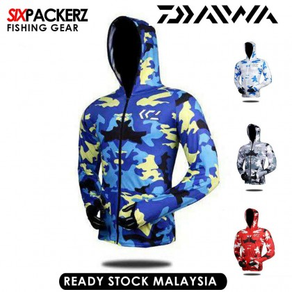 DAIWA Camouflage Men Quick Dry Fishing Jacket Waterproof Sun UV Protection Coats BAJU PANCING -  BLUE